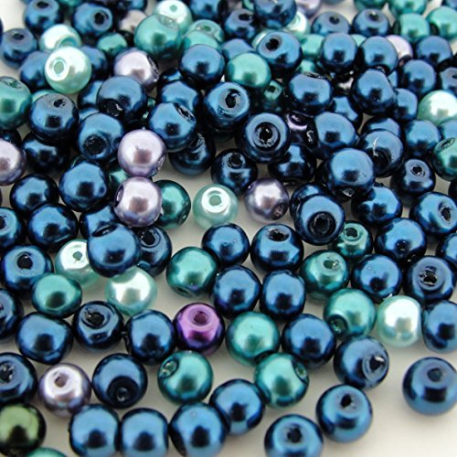 Beads Direct USA's Glass Pearls Mix 200pcs Round 4mm - Ocean Mix by Beads Direct USA