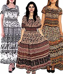 INDIAN FASHION GURU Womens set of 3 maxi dresses and 1 stole - Valentine Day Sale