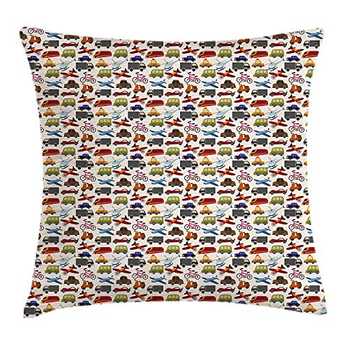Boy's Room Throw Pillow Cushion Cover, Planes Bikes Cars Trucks Train Taxi Motorcycle Bus Crane Engine Cartoon Art, Decorative Square Accent Pillow Case, 18 X 18 inches, Multicolor