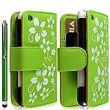 Housse coque étui portefeuille pour Apple Iphone 3G / 3GS motif fleur couleur vert + stylet luxe + film écran