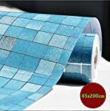 DooXoo Faux Tile Mosaic Aluminum Foil Self-adhensive Anti Oil Wallpaper 45x200cm for Kitchen Tile...