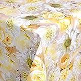 Wachstuch Tischdecke Gartentischdecke mit Fleecerücken Gartentischdecke, Pflegeleicht Schmutzabweisend Abwaschbar Rosen Creme Weiss 210x 140 cm - Größe wählbar