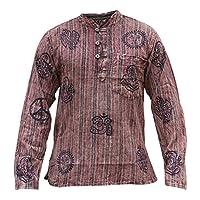 SHOPOHOLIC FASHION Unisex Stonewashed Striped Light Weight Hippy Grandad Shirt 19