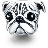Charm in argento Sterling 925 con bulldog francese, per gli amanti dei cani