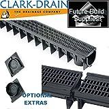 Heavy Duty A15-Piletta di scarico in PVC, vialetto canali di drenaggio dell'acqua piovana-Garden Home & vialetto grattugiare 1 metro di lunghezza 1 m Clark CLKS422/96