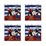 LaModaHome Glass Mat Set 4Pcs 100% MDF Größe: 9x 9cm Popeye The Sailor Man Spinat Frau und Mann Flower Dear Seitenruder hitzebeständiges Glas-Teppiche, schmutzabweisend Waschbar Glas Mats