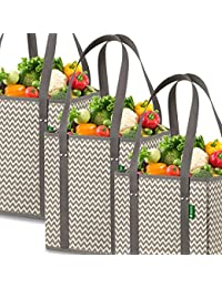 Reusable Grocery Shopping Box Bags (3 Pack - Chevron), Premium Quality Heavy Duty Tote Bag Set With Extra Long...