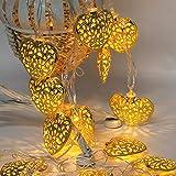 LEDMOMO 2.5 M corazón cadena luces LED 20 hierro artesanal hadas Pascua luces con cálido blanco luz (oro caliente)