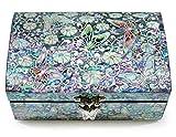 Schmuck Schmuckkästchen Holz Perlmutt Inlay Spiegel Deckel pink floral Schmetterling Design