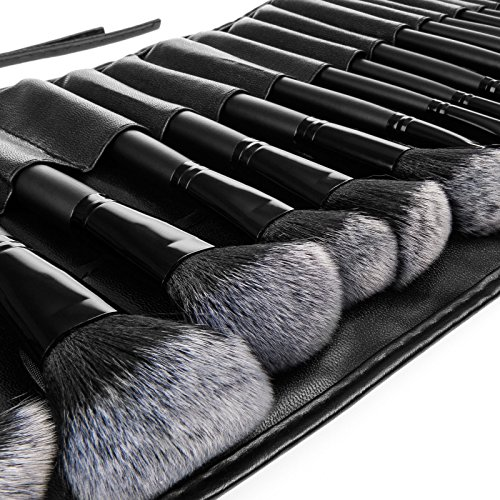 Savisto Professional 32 Piece Make Up Brush Set with Luxury Leather Effect Carry Case & Stylish Gift Box