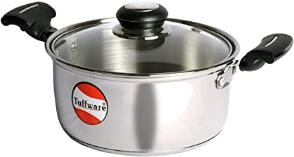 Tuffware Stainless Steel Casserole Regular with Glass Lid - Induction Friendly
