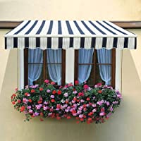 Greenbay 2 m x 1.5m DIY Patio Retractable Manual Awning Garden Sun Shade Canopy Blue-White with Fittings and Crank Handle