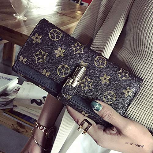 Ldyia Portemonnaie Damenportemonnaie mit langem Print alte Blume Damenhandtasche mit großem Fassungsvermögen dreifache Geldbörse, schwarz -