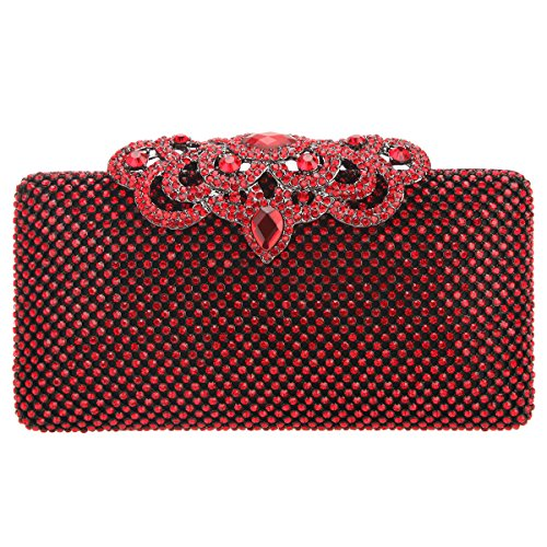 Bonjanvye Crown Clutch Purse Bling Hard Box Rhinestone Crystal Clutch Bag Red - Red Crystal Clutch