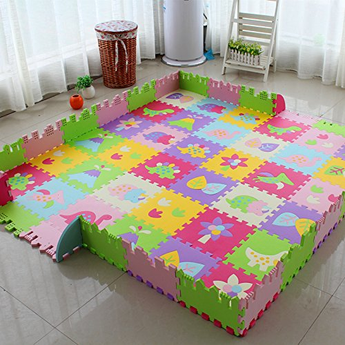 Alfombra de suelo tipo puzle de juego en espuma para niños,30x 30x 1,4cm, plástico, Model G, 18