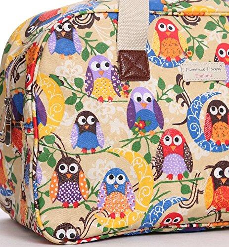 Borsa in tela cerata, da viaggio/vacanza, fantasie varie stampate (fiori, civette, a righe) colourful owls