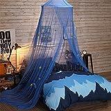 AOKDOOR 1 Stücke Elegante Sicherheit Romantische Blaue Moskitonetze Prinzessin Sterne Bett Vorhänge Rund Mit Baldachin Zelt Klamboe