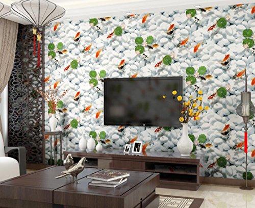 3d-luxe-retro-style-pastoral-de-non-tisse-respectueux-de-lenvironnement-lotus-poisson-dor-motif-fond