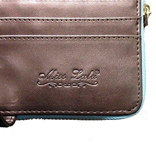 Miss Lulu - Portafoglio con zip in tessuto cerato, motivo a pois Owl Light Blue