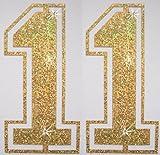 Stoff Pailletten Paar Fußball Zahl Bügelbild gold 11