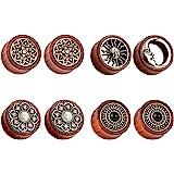 Tbosen - Set di 8 tappi per le orecchie in legno organico Sun Moon
