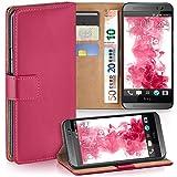 moex HTC One M8 | Hülle Pink mit Karten-Fach 360° Book Klapp-Hülle Handytasche Kunst-Leder Handyhülle für HTC One M8/M8s Case Flip Cover Schutzhülle Tasche
