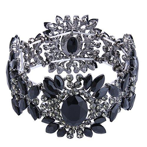 Ever Faith Damen Österreichische Kristall Braut Blume elastisch Stretch Armband schwarz schwarz-Ton