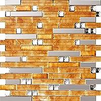 Mosaico de vidrio de acero inoxidable diamante hoja de arce roja pared del modelo Azulejos de mosaico Art Deco acero inoxidable mosaico 300*300mm Cocina backsplash / ducha de pared de la pared de la pared / Hotel pasillo pared de la frontera / piso residencial de piso y aplicaciones de la pared SA047-38 (11 pieza/㎡)