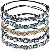 Lot de 5 bandeaux élastiques artisanaux Switty avec strass et perles - Accessoires capillaires pour femme