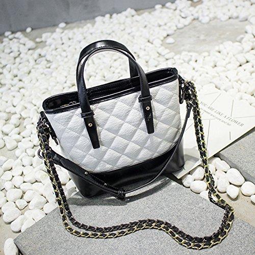 Damen Paket Mode Lingge Kette Paket Schulter Schräge Kreuz Handtasche Tasche Reines Weiß