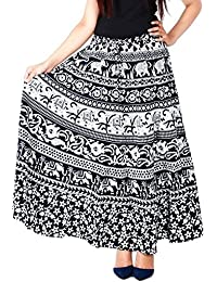Modern Kart Women's Cotton Printed Wrap Around Skirt(MKSKT063, Black, Free Size)