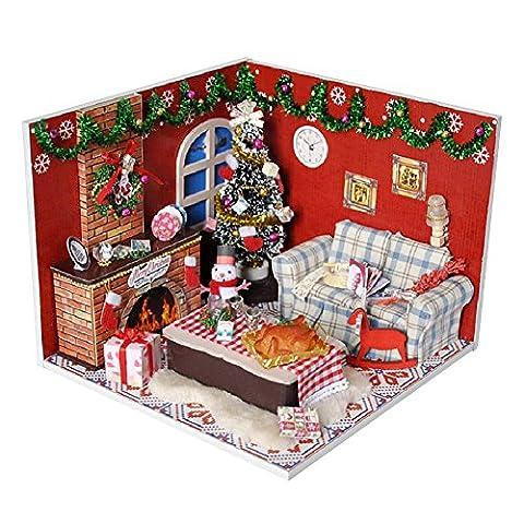Luerme Puppenhaus Miniatur Puppenhaus Moebel DIY Dollhouse Kit Kinder Geschenk mit Led Licht (Weihnachten)