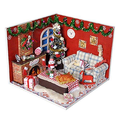 Per Puppenhaus Miniatur DIY Haus-Installationssatz Nettes Zimmer mit Möbeln Kreatives Geschenk Gebaut Geburtstags-Weihnachtsgeschenk LED Lichter+Batteriefachschalter+Staubschutzhaube (Weihnachtshaus)
