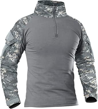 KEFITEVD Men's Slim Fit Military Tactical Long Sleeve Shirt 1/4 Front Zip Camouflage Airsoft Shirts Outdoor Combat t Shirt