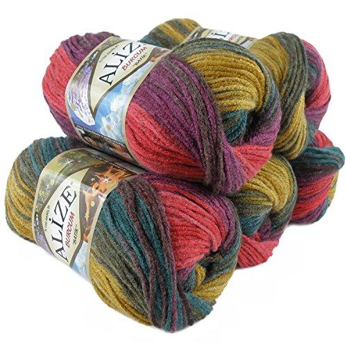 500g Strick-Garn Alize BURCUM Batik Strick-Wolle Handstrickgarn, Farbe wählbar, Farbe:3368 Beere-Oliv-Petrol-gelb-rot
