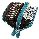 Kreditkartenetui Damen Bunt Echt Leder, Geldbörse Damen Reißverschluss Zip Around Mini Handtasche mit Münzen Tasche RFID Blocking (Blau)