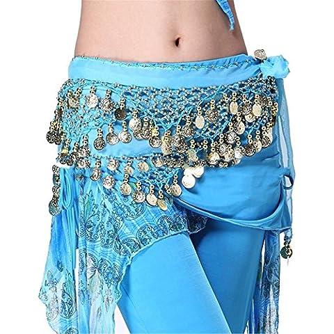 Dance Accessories indiano danza Tribal Danza del ventre Sciarpa 3 Rows Gold monete Waist Lengthened