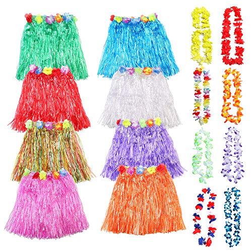 sopplea 8 Pack Hawaiian Luau Hula Röcke mit 8 Pack Hawaiian Luau Blume Leis Silk Faux Blumen - Gras Hibiskus Blumen Geburtstag Tropical Party Dekorationen Bevorzugungen Lieferungen