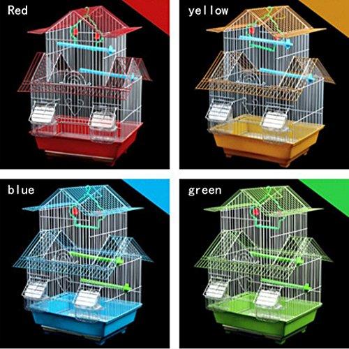 Liuyu · Lebenshaus Papagei Vogelkäfig Große Villa Eisen Kunst 33 * 26 * 49 cm ( Farbe : Rot , größe : Hanging ring version ) Antike Größe 10 Ringe