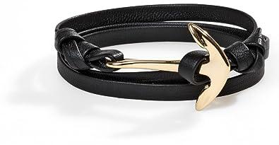 I AM KAMU Paris Avenue bracelet fait main corde souple en cuire Nappa noir avec ancre