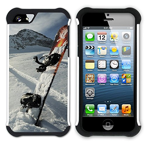 Graphic4You Snowboard Wintersport Schnee Berg Hart + Weiche Kratzfeste Hülle Case Schale Tasche Schutzhülle für Apple iPhone SE / 5 / 5S Design #10