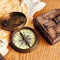 """3""""Robert Frost Poem compass with Handmade Leather Case"""