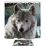 KOTOM Animal Decor Cub Lobo en Mounatin Modern Artsy Animal Print Cortinas de Ducha Conjunto...