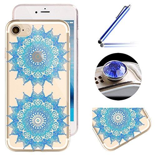 Etsue iPhone 6 Plus/6S Plus Housse,Etui Housse Coque de Protection Silicone TPU Gel pour iPhone 6 Plus/6S Plus,Silicone Coloré Imprimé en Caoutchouc Souple de Gel Housse pour iPhone 6 Plus/6S Plus + 1 Cercle Fleur Bleu
