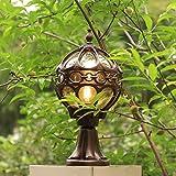 Lampione da parete impermeabile europeo-americano Villa giardino luci luci LED porta pilastro lampada all'aperto del paesaggio del giardino 38cm*21.5cm
