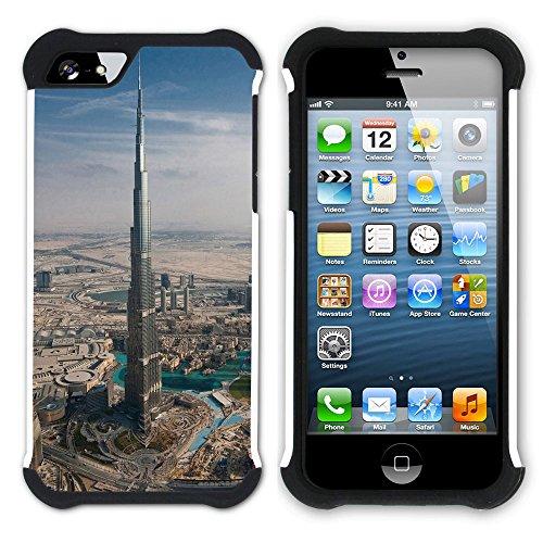 Graphic4You Burj Khalifa Dubai Postkarte Ansichtskarte Design Hart + Weiche Kratzfeste Hülle Case Schale Tasche Schutzhülle für Apple iPhone SE / 5 / 5S Design #8