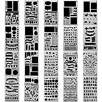 Ogquaton Bullet Journal Stencil Plastic Planner Stencils 12 Piezas Diario del Diario Diary Scrapbook DIY Dibujo Plantilla Stencil 4.2 x 7 Pulgadas (Juego de 12)