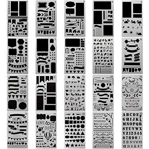Lyanther Kugel Journal Schablone Kunststoff Planer Schablonen 12 Stücke Journal Notebook Tagebuch Sammelalbum DIY Zeichnung Vorlage Schablone 4,2 x 7 Zoll (Set von 12)