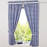 HongYa patrón de juego de cuadros de 4cortinas. Cocina cortinas cortinas con alzapaños, poliéster, azul, H/B: 145/80 cm