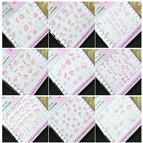 EVTECH (TM) 9 pièces Nail Sticker Foral papillon blanc bowknot rose Blossom macramé Fleurs design Nail Art outil Dentelle Sticker Craved Nail Sticker Tatoo